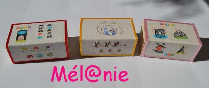 des boîtes de chocolats brodées