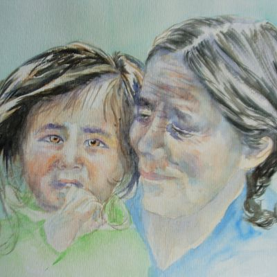 Aquarelle : grand-mère et sa petite fille