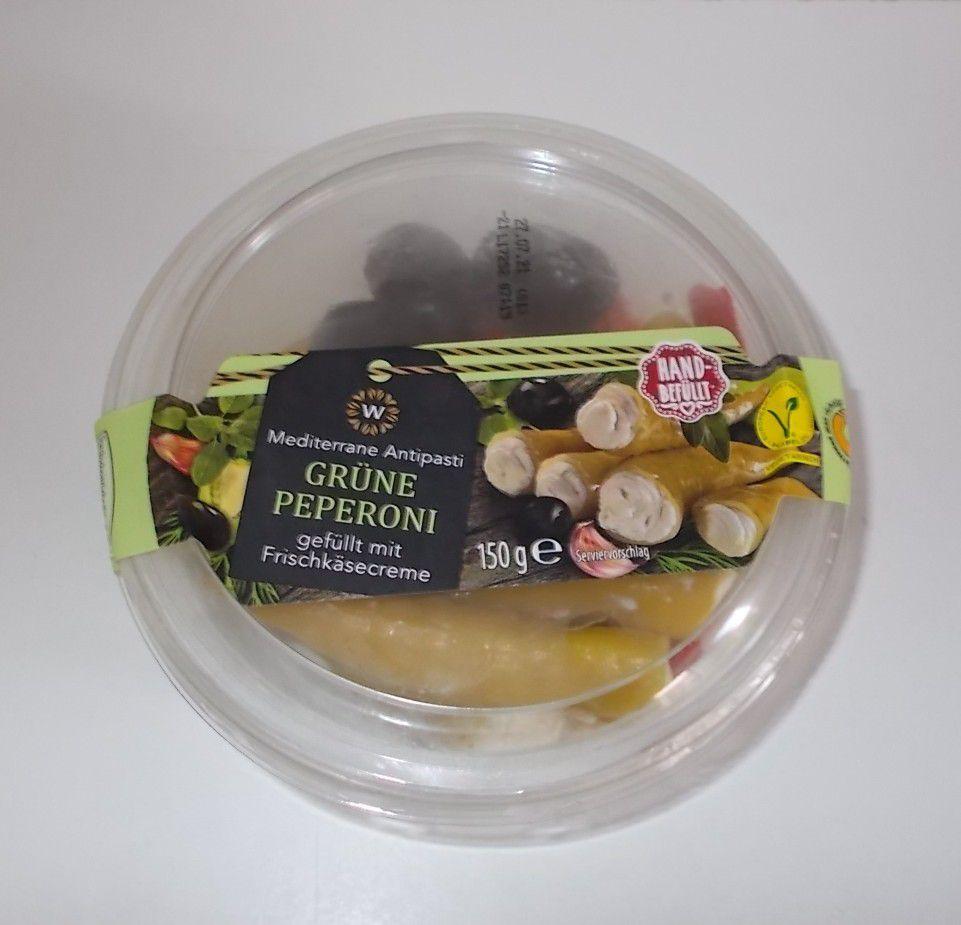 Aldi W Grüne Peperoni gefüllt mit Frischkäsecreme