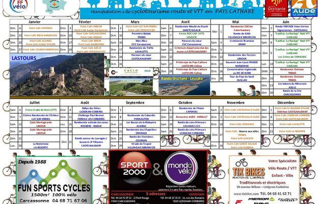 Le calendrier 2019 du Comité Départemental de Cyclotourisme de l'AUDE (CoDep11) - F.F.C.T. est sorti