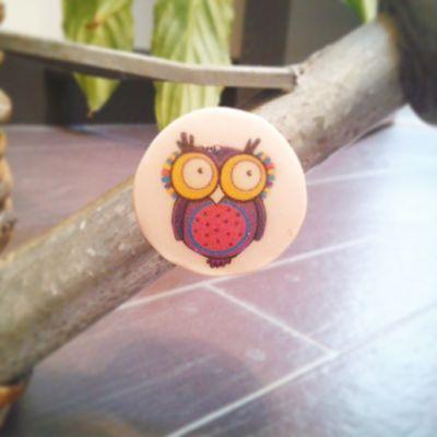 Magnet plat hibou violet