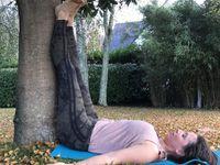 1- Une version simplifiée de la posture sur la tête    2- Sirsasana     3- Viparaita Karani contre un arbre