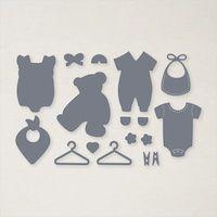 155471 poinçons Vêtements pour bébé stampin up pyjama bavoir cintre nounours bavoir carterie décoration naissance