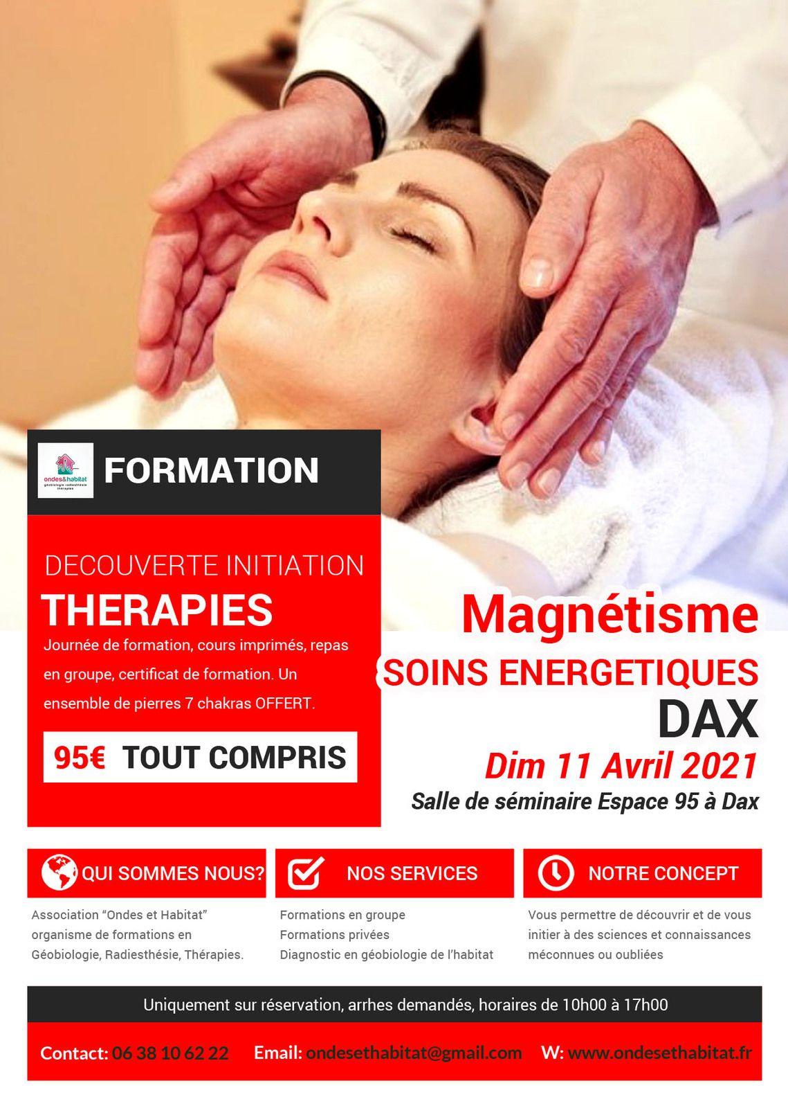 """DAX-Formation : """"Magnétisme et soins énergétiques"""" Découverte initiation Dim 11 avril 2021"""