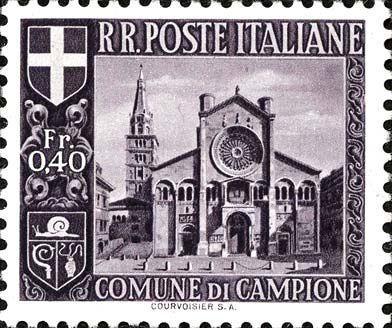 Fig.10 : les sept valeurs de la  troisième émission de Campione du 7 septembre 1944.