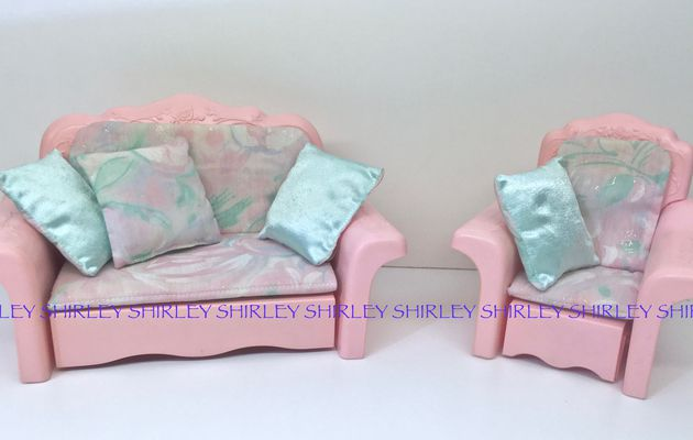 SOFA BED & CHAIR LOUNGER Pink Sparkles 1991