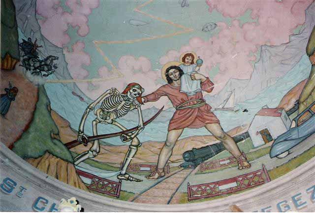La fresque de la voûte du Chœur a été réalisée en 1938 par Xavier Langlais.