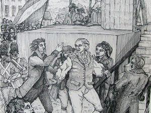 Exécution de Louis XVI  -  Entrevue de Jean-Baptiste avec Robespierre (dessins de Jacqueline Clavreul)
