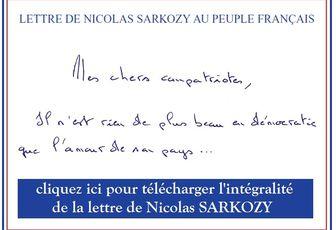 Lettre de Nicolas SARKOZY au peuple français