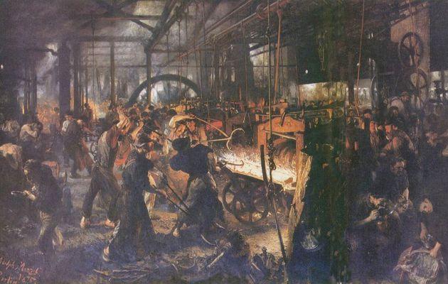Adolf Friedrich Erdmann von Menzel. Eisenwalzwerk (Moderne Cyklopen).1872-1875, Öl auf Leinwand, 158 × 254cm.Berlin, Alte Nationalgalerie.Deutschland.Realismus. KO 00612