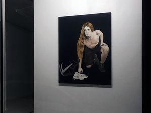 """© N.Maureau, """"Narcisse"""" et """"Hubert"""" - Série """"Tableaux de chasse"""", huiles sur toile, 130 x 97 cm"""