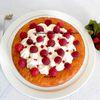 Gâteau OLGA d'après Christophe Felder : biscuit moelleux amande-orange imbibé de sirop d'orgeat, chantilly au sirop d'orgeat, gelée de framboise, framboises