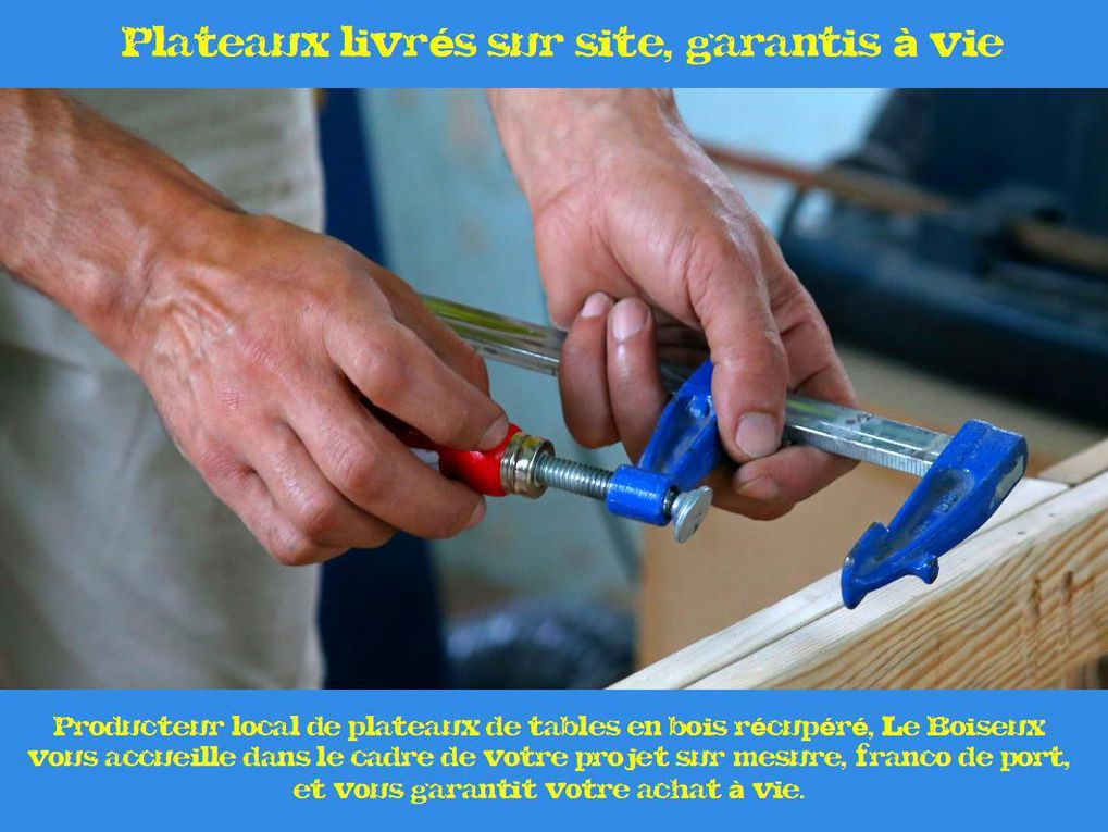 Producteur local de plateaux de tables (tables de restaurants, tables de réunions…) en bois récupéré, Le Boiseux vous accueille dans le cadre de votre projet sur-mesure, franco de port, et vous garantit votre achat à vie.