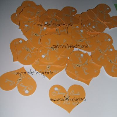 étiquette coeur orange gris