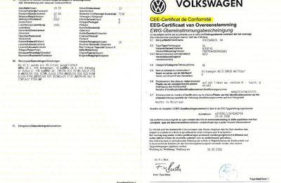 Certificat de conformité Coc Volkswagen VW