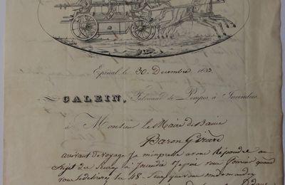 facture , attelage hippomobile sapeur pompier  XIXème