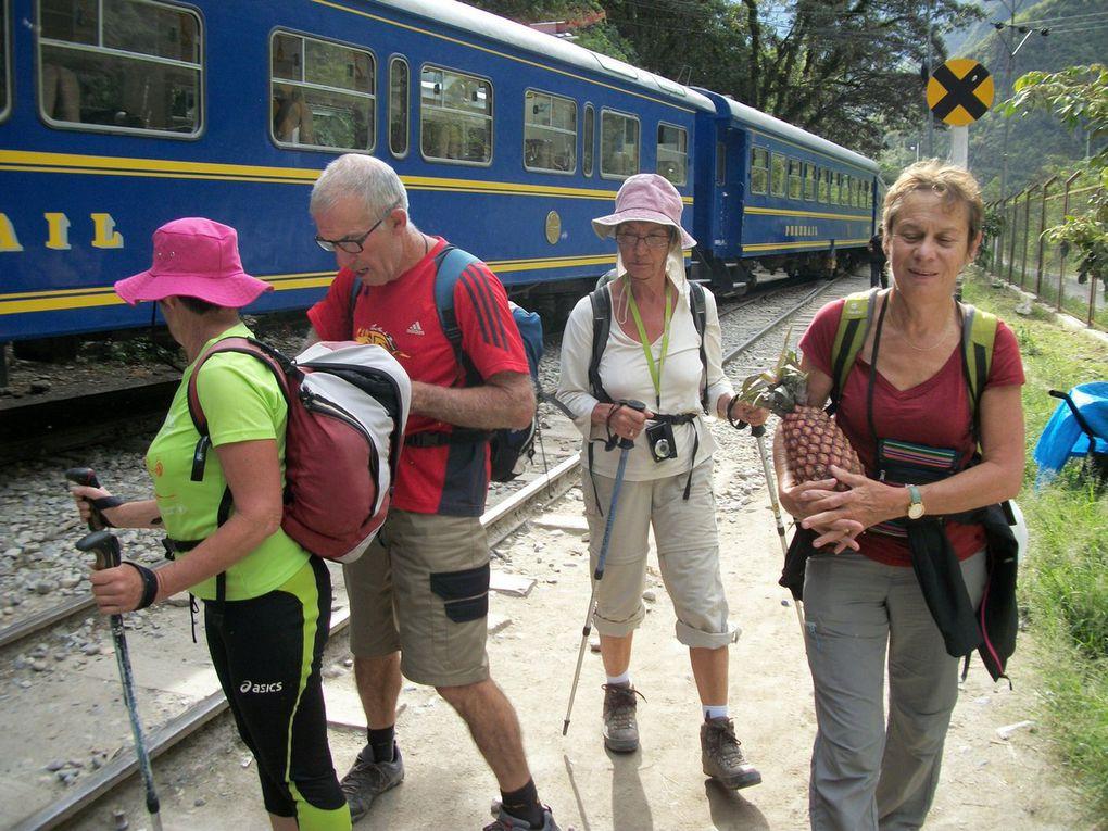 Cuzco, la route vers hydroelectrica via Urubamba, Ollantaytambo, Santa Maria et Santa Teresa et Aguas Calientes rebaptisé en Machu Picchu pueblo ,pour y accéder 2h30 de marche long de la voie ferrée avec moustiques , oiseaux,  papillons.....et de nombreux humains