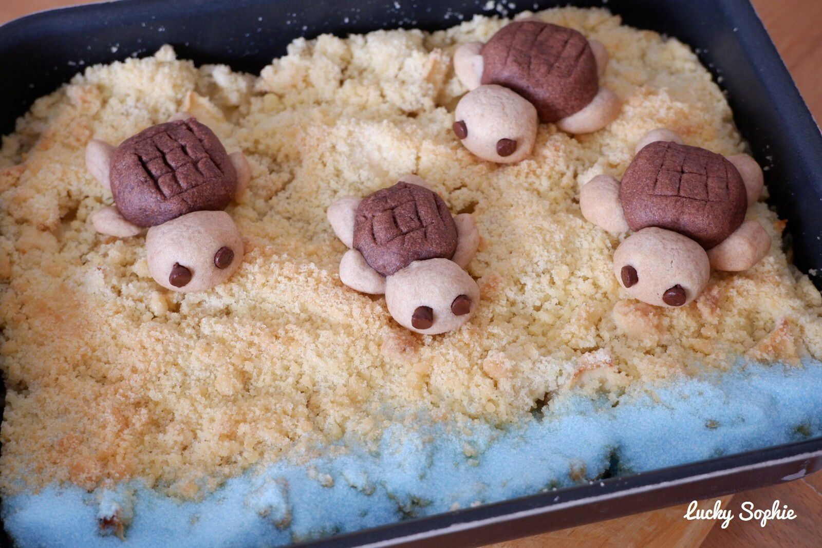 Crumble plage et biscuits tortues