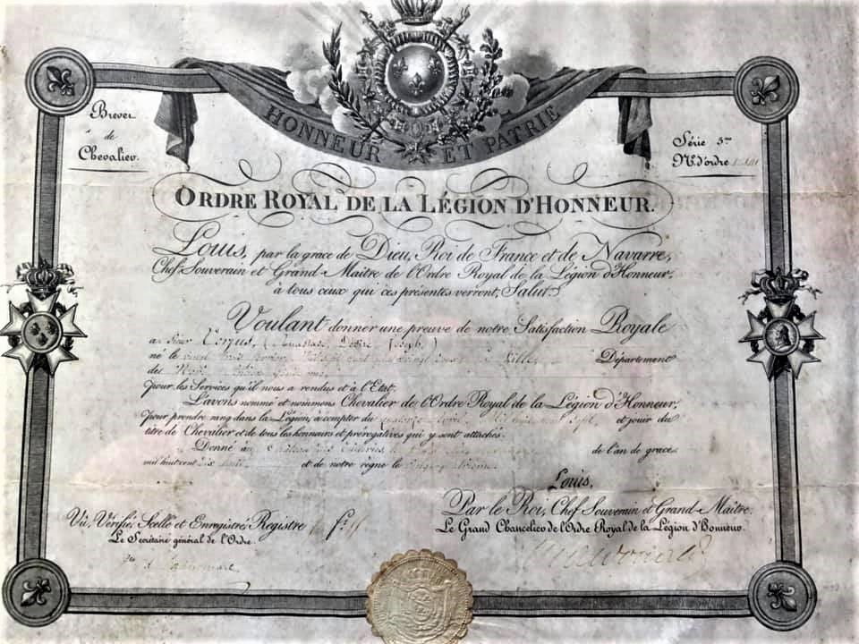 Le diplôme, la Légion d'Honneur,  C. Raisonnier et le Roi Louis XVIII.r .