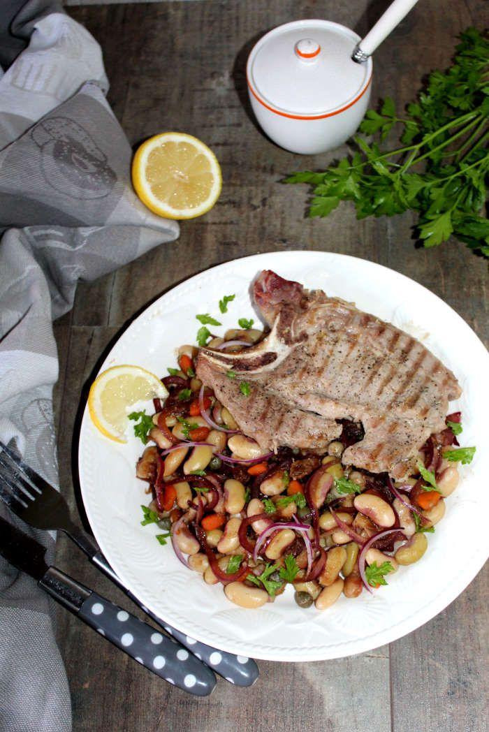 Côtes de porc et haricots blancs à la caponata