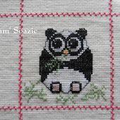 Plaid Chouette brodée 141 : Chouette Panda - Chez Mamigoz