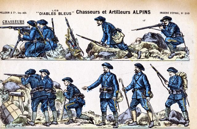 CHASSEURS ALPINS / IMAGERIE D'EPINAL / GRAVURES / FIGURINES