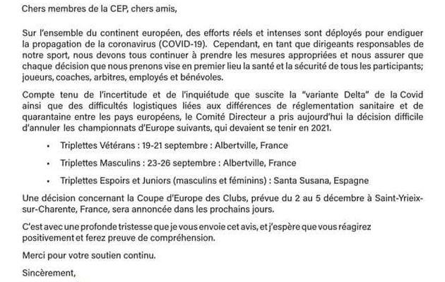 La COVID-19 annule les Championnats d'EUROPE Pétanque !