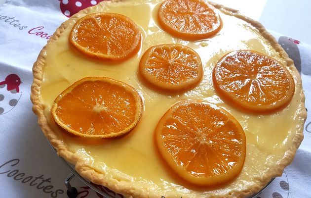 TARTE A L'ORANGE ET TRANCHES D'ORANGE CONFITES