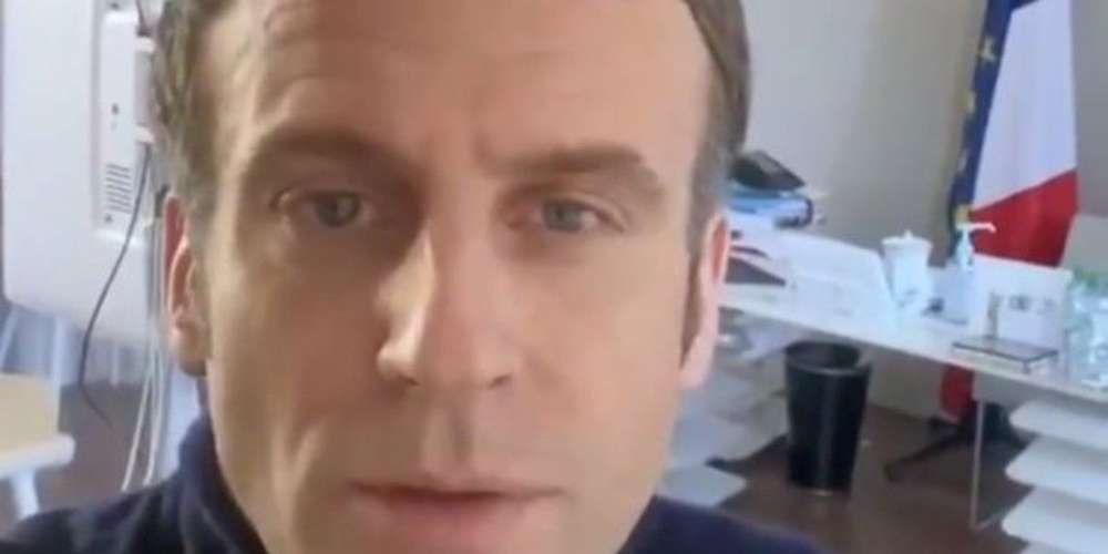 Emmanuel Macron, pâle et les traits tirés dans une vidéo postée ce vendredi après-midi sur son compte Twitter personnel © Crédit photo : Copie d'écran Twitter