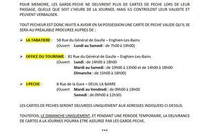 TARIFS 2021  &  REGLEMENT DE LA PECHE