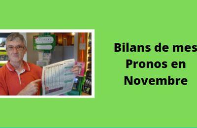 Bilans de mes pronos en Novembre