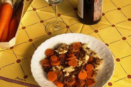 Escalopes de Volailles aux lentilles et carottes