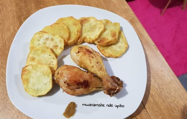 Patate douce et poulet frits