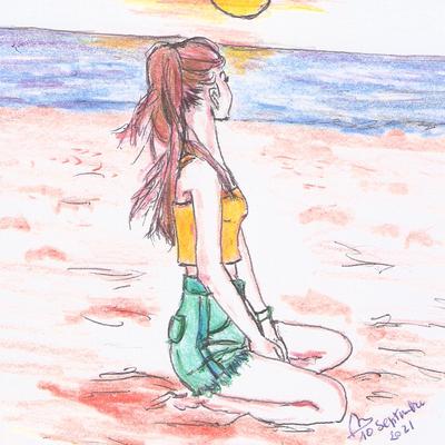 Sur la plage: