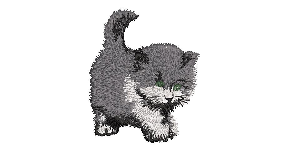 BRODERIE CHATON GRIS NOIR