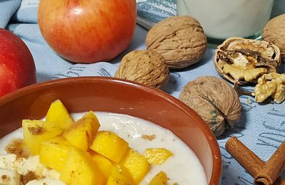 porridge (gachas) de avena con fruta