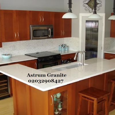 Get Online Best Almond Quartz Kitchen Worktop in London