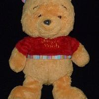 Doudou ours winnie the pooh Nicotoy pull rouge rayé ENVOI SUIVI OFFERT