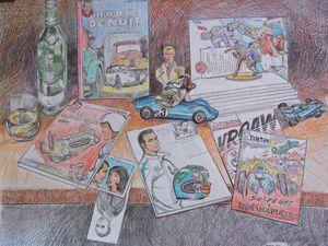 1° et 2° dessins préparatoires pour la nature morte Michel Vaillant  Crayons  21x30 et 50x65  Bhavsar