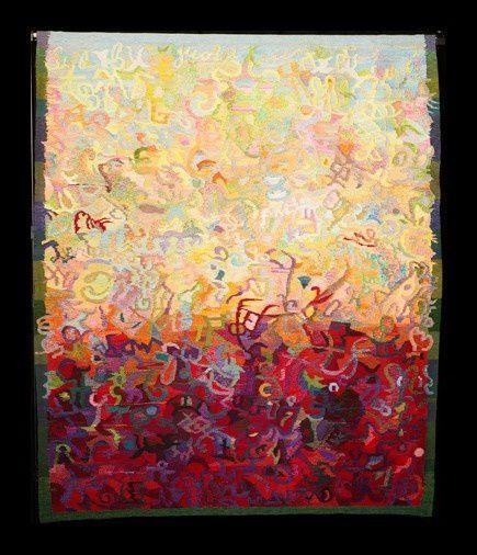 Tapisseries d'artistes très contemporains (fond noir) et tapisseries des collections du musée (fond blanc)