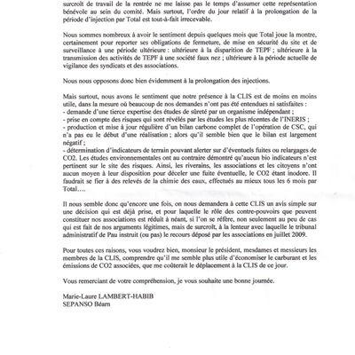 Courrier de Mme Lambert concernant la réunion de la CLIS du 12 septembre 2011