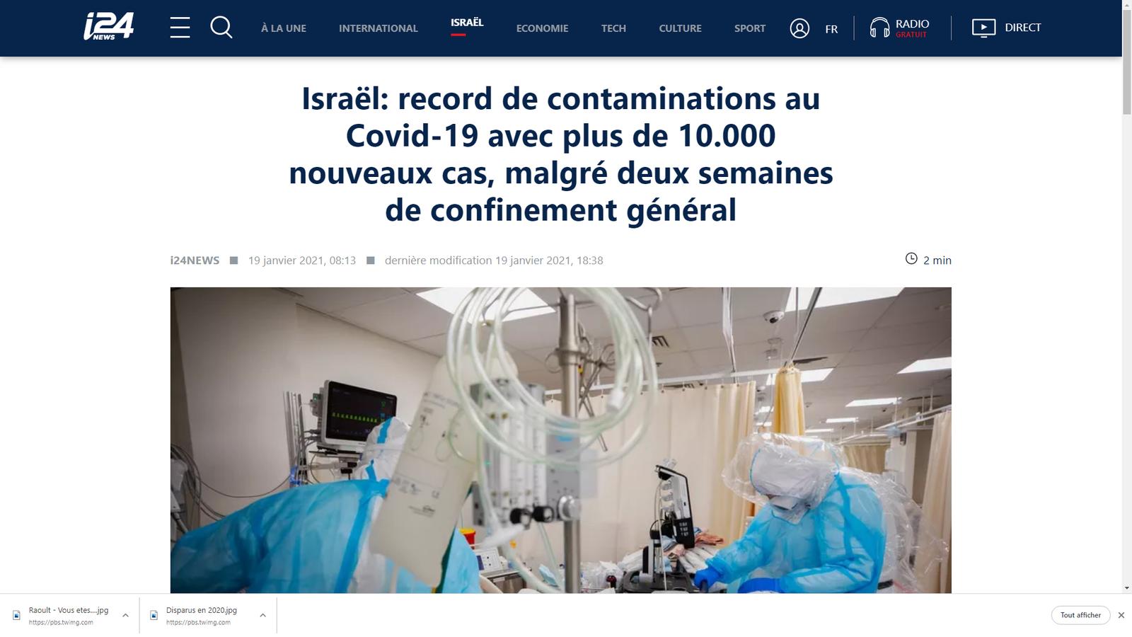 Israël: record de contaminations au Covid-19 malgré deux semaines de confinement général et de vaccination de la population vulnérable âgée
