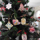 Pendouillou 3 Cœurs Vichy de Noël, point tissage - Chez Mamigoz