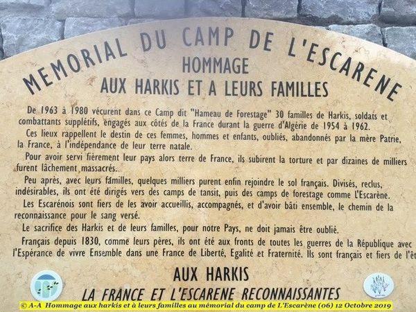 Hommage aux harkis et à leurs familles au mémorial du camp de L'Escarène (06)