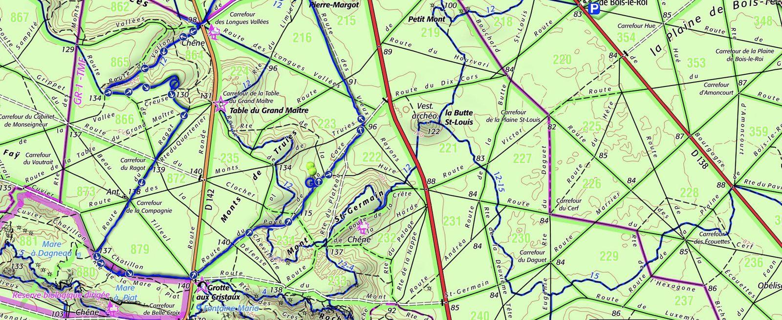 Randonnée en boucle de Bois-le-Roi, 12 km.