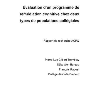 Rapport - Fonctions exécutives - Evaluation d'un programme de remédiation cognitive