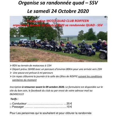 Rando Quad et SSV semi-nocturne le samedi 24 octobre 2020 de l'Association MOTO QUAD CLUB ROIFFEEN (86)