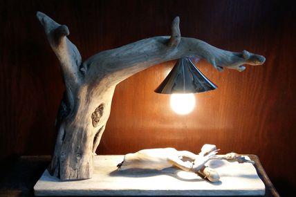 Lampe bois flotté visible sur ma boutique ALM