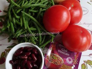 Chili de haricots verts et rouges aux tomates -LIGHT-