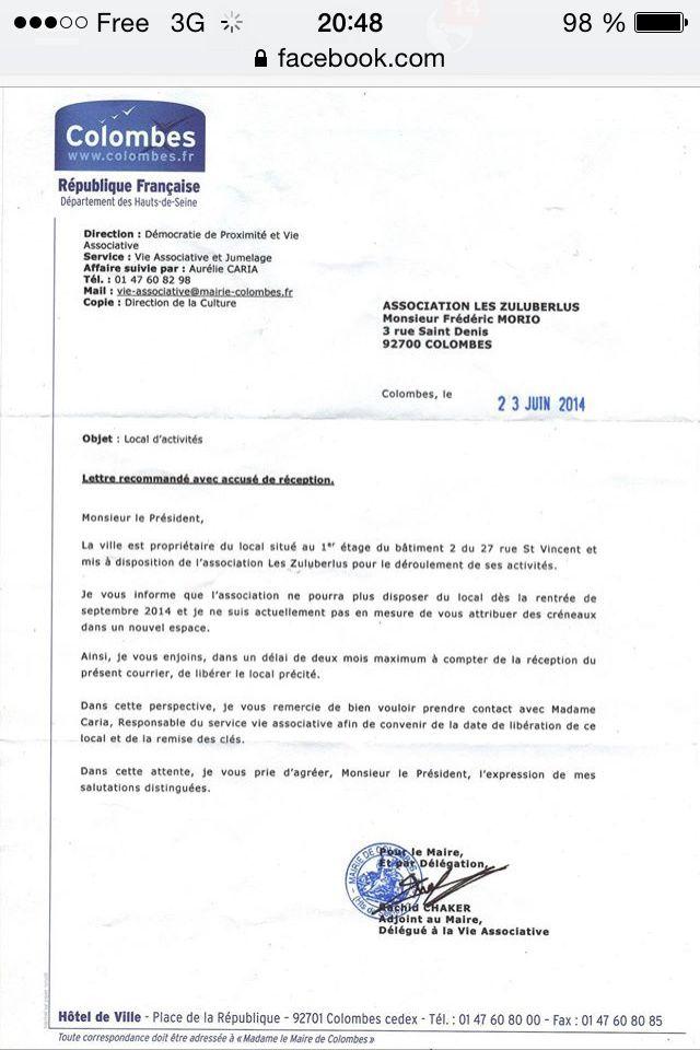 COLOMBES : UNE ASSOCIATION MISE À LA PORTE PAR LA MAIRIE !